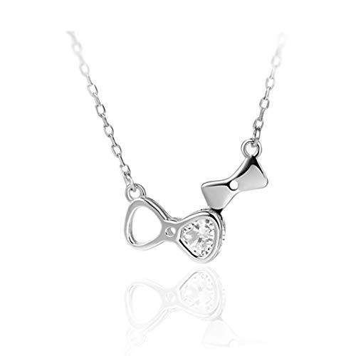 WUFANGFF Sterling Silber Halskette Damen Schmuck Bow Tie Simple Mode