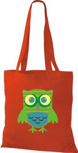 Borsa Di Stoffa Gufo Colorato Borsa Da Trasporto Carino Con Puntini Di Karos Stripe Owl Retro Diverso Colore Rosso