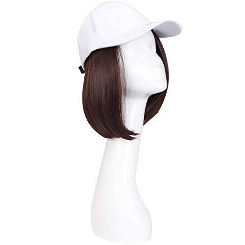 Perücke Hut,Hut Perücke Abnehmbare einteilige Frauen Sommer Kurzes Haar Gerade Modetrend Abnehmbare Dünne Trimmung Gesicht Welle Kopf