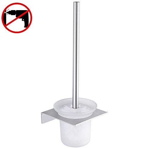 Gricol WC-Bürste mit Halterung, nagelfrei, keine Beschädigung, patentierter Kleber + 3M-klebend, Aluminiumfläche, rostfrei, Wandhalterung