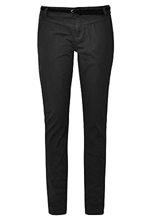 Urban Surface Damen Chino-Hose I Elegante Stoffhose mit Flecht-Gürtel aus bequemer Baumwolle black1 XS