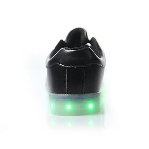DoGeek Unisex Adulto Scarpe con Luci Scarpe LED Luminosi Sneakers con Luce nella Suola Bright Tennis Shoes USB 8 Colori Lampeggiante Trainners Nero