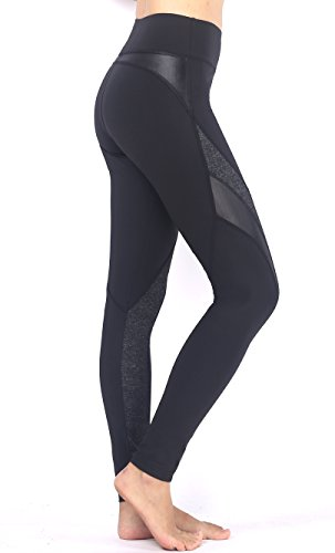 Munvot® 〖Herbst neue Produkte 〗Sexy Damen Faux Leder PU Leggings Sport Leggings Blickdichte Leggings Training Tights Fitnesshose Hohe Taille Strumpfhose (XL:Taille=72cm, Schwarz/Koksgraue#2) - Sexy Damen Natural