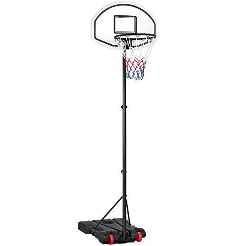 Yaheetech Basketballständer Basketballkorb mit Rollen und befüllbarer Ständer Höhenverstellbar Basketballanlage für Kinder und Erwachsene