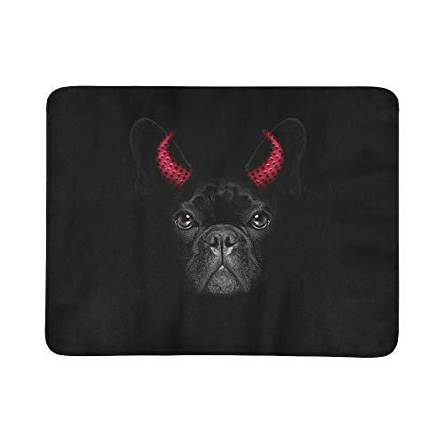 KAOROU Halloween Hexe französische Bulldogge Hund gekleidet tragbare und Faltbare Decke Matte 60x78 Zoll handliche Matte für Camping Picknick Strand Indoor Outdoor Reise