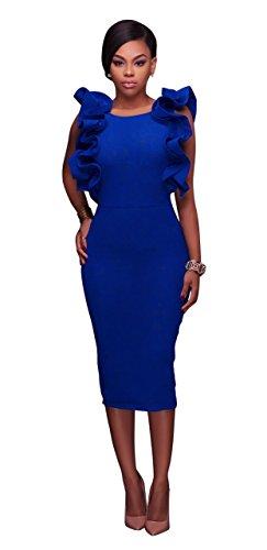 Honeystore Damen's U-Ausschnitt Midi Kleid Elegant Retro Bodycon Cocktailkleid Abendkleid Festlich Partykleid Blau (Online Sie Mieten Kostüme)