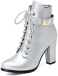 Heart&M Mujer Zapatos Semicuero Invierno Botas de Moda Botas Tacón Robusto Dedo redondo Botines Hasta el Tobillo...