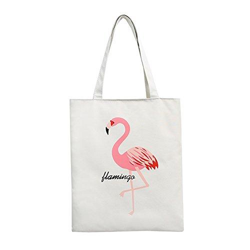 Frauen Flamingo Large Kapazität Canvas Schultertasche Travel Handtasche Shopper Tote weiß weiß