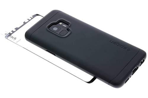 Spigen Thin Fit 360 Cover Galaxy S9, Caso Protezione esatta Slim Full Screen Protector Vetro temperato per Samsung Galaxy S9 (2018), Nero