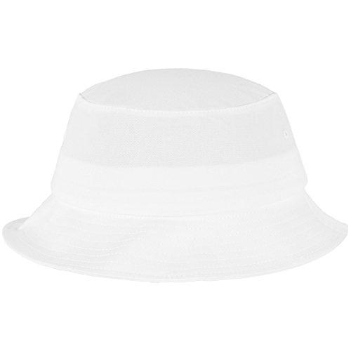 Flexfit Cotton Twill Bucket Hat - Unisex Anglerhut für Damen und Herren, einfarbig, mit patentiertem Band, Farbe Weiß, one size