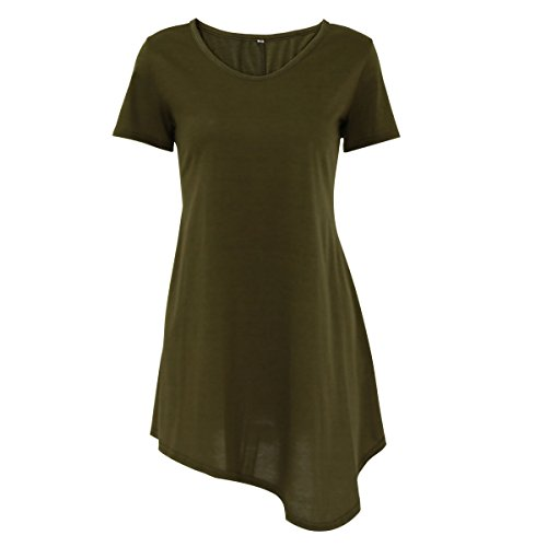 iPretty damen Langarm Casual lose T-Shirt Kleid Asymmetrisch-grün ...