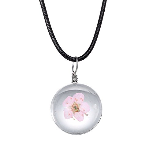 net Gedrückt Blume Anhänger Peach Blossom in Glas Ball Halskette mit Leder Kette ()