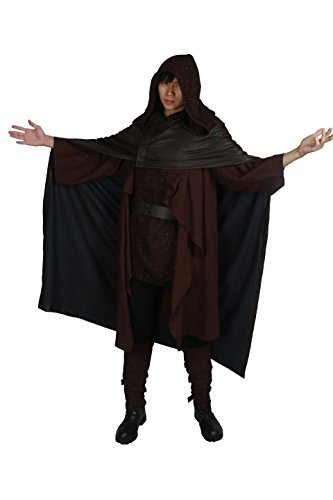 (SW8 Luke Kostüm Skywalker Outfit Herren Halloween Cosplay Verrücktes Kleid Kleidung mit Hooded Cloak Deluxe Whole Set)