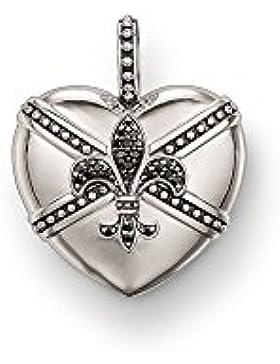 Thomas Sabo Herz mit Lilie Anhänger mit Öse Silber mit schwarzem Zirkonia PE488-051-11