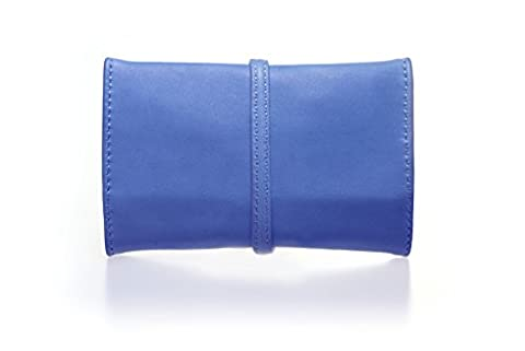 Airy blue leather tobacco pouch, case, bag, with strap, italian handmade product with Italian genuine leather - present ideas -