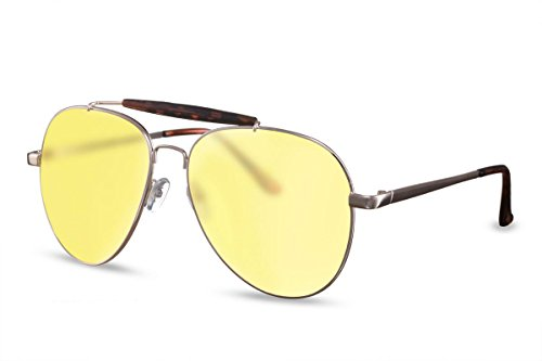 Top Sonnenbrille (Cheapass Sonnenbrille Aviator Gold Gelb Piloten-Brille Top-Gun Flieger-Brille UV-400 Metall-Rahmen Damen Herren)