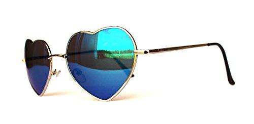 Herz Herzen Herzchen Love Sonnenbrille Sommerbrille Sonnenbrillen mit UV Schutz Unisex Herzbrille (V17-SGQ5688B-darkblue)