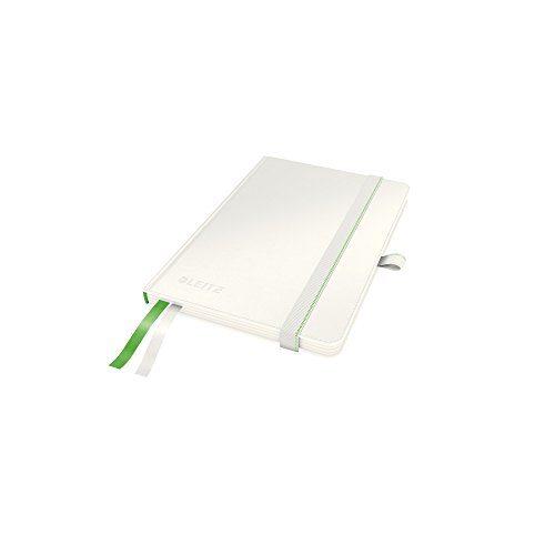 Leitz A6 Hard Cover Notebook, White (80 Sheets, Squared Paper, with 2 Bookmarks, 100 gsm Ivory Paper, Complete Range)