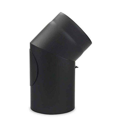 Ofenrohr, Rauchrohr, Bogen, Senotherm, 45°, mit Tür, ø 130 mm Schwarz