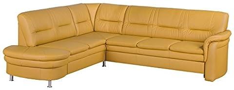 Cavadore 5034 Wohnlandschaft Cassada, Abschlusselement 2-sitzig mit Schublade links-Spitzecke, Relaxfunktion 3-er Bett rechts, 265 x 90 x 240 cm, Leder Punch
