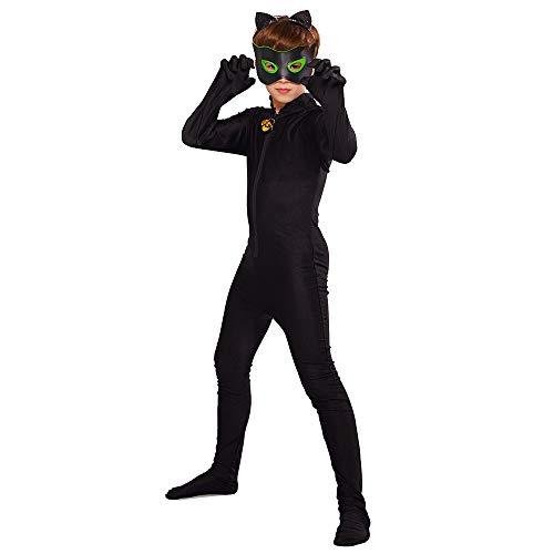 URAQT Disfraces de Carnaval Lady Bug, Disfraz de Cat Noir Niños, Máscara Diadema Miraculous Ladybug Manga Larga Monos Actuación Cumpleaños Halloween Carnaval Navidad Regalo Cosplay Negro M