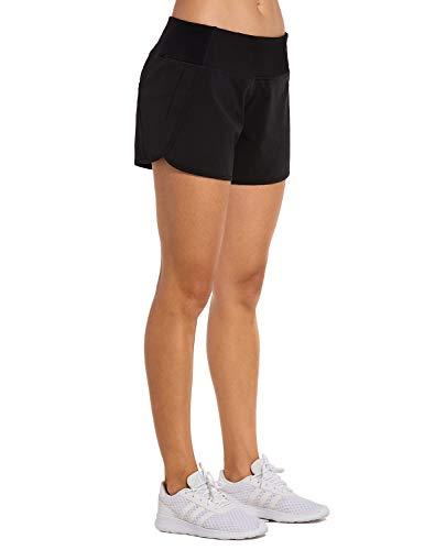 CRZ YOGA Damen Sport Shorts Soprtswear Shorts 2 in 1 Laufshorts - Elastizität Leicht - 10cm Weinrot-R403 XXS(34)