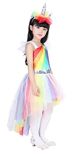 Für Immer junges Mädchen-Einhorn-Partei-Kleid-Regenbogen-Pony-Kostüm-Einhorn-Stirnband und Kleid 3-5 - Regenbogen Pony Kostüm