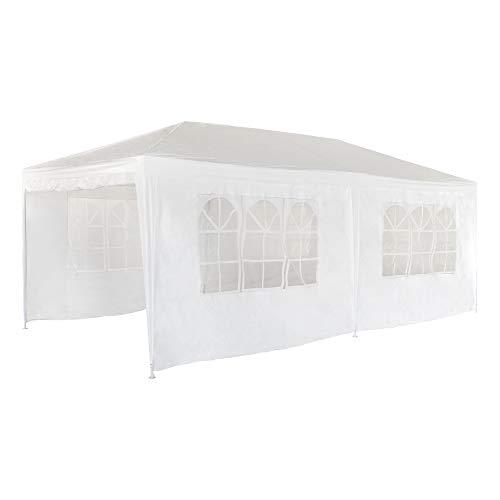 aktive garden 53993 - carpa plegable 300 x 600 x 260 cm con tubos de acero, color blanco