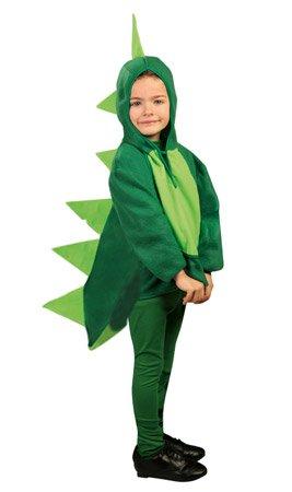 Kinder Kostüm Dino Drache, Overall grün mit Kaputze (128/134)