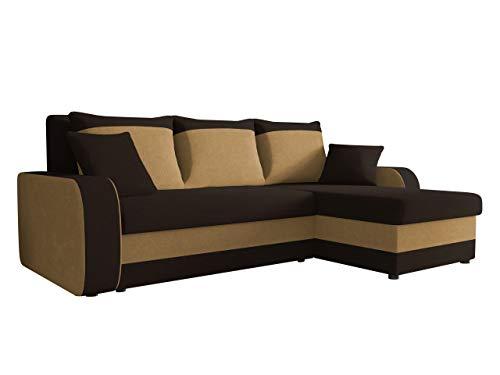 Ecksofa Kristofer, Design Eckcouch Couch! mit Schlaffunktion, Zwei Bettkasten, Farbauswahl, Wohnlandschaft! Bettfunktion! L-Form Sofa! Seite Universal! (Mikrofaza 0041 + Mikrofaza 0048)