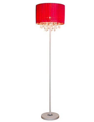 HYW European-style floor lamp series cloth shade vertical crystal floor lamp modern simplicity european style living room fashion creative bedroom bedside floor lamp - retro floor lamp,Red