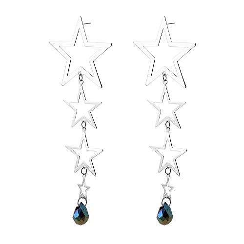 jieGREAT ❤ Damen Ohrringe ❤ Silber Damen Sterling Silber Doppelstern Ohrringe