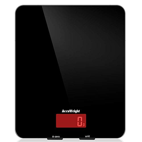 ACCUWEIGHT Bilancia Digitale da Cucina Bilance Alimenti Elettronica con Display LCD per Pesa Cibo, 5 kg / 11 lbs, Superficie in Vetro Temperato, Nero