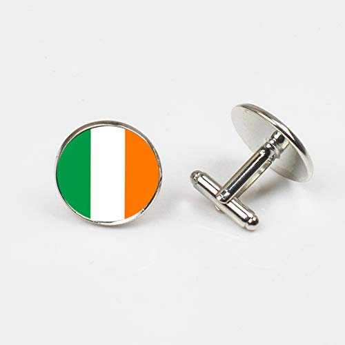 Irische Hochzeitsknöpfe mit Nationalflagge für Herrenhemd, silberfarben -