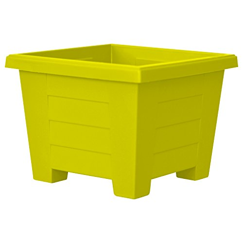 Outdoor Patio Planters (ALMI Cnaan Mini Square Plastic Planter - 5.9 Inch Cube Pot For Garden, Elegant Shaped Flower Tree Pot, Planter For Plants, Small Trees, Plant Pot, UV Resistant Paint, Indoor & Outdoor, Yellow)