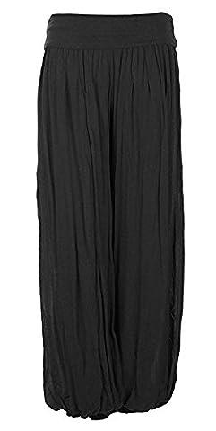 Ladies Womens Italian Lagenlook Quirky Layering Plain Silk Flap Waist Puffball Style Harem Trouser Leggings Joggers Pants Loose Baggy One Size Plus UK 12-22 (One Size Plus, Black)