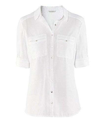 QIYUN.Z Millesime Mousseline Revers De Style Des Femmes De Poche Solides Occasionnels Tete Blouses Chemise Blanc