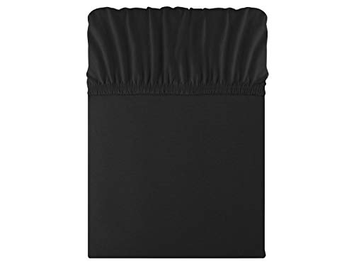 npluseins klassisches Jersey Spannbetttuch in 22 Farben - in 6 Größen - 100% Baumwolle, ca. 120 x 200 cm, schwarz