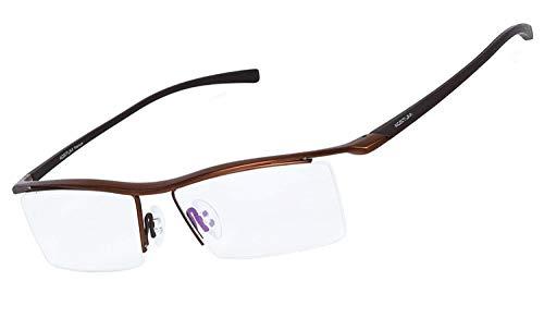 I will take action now Mens Pure Titanium Semi-randlose Brillen Business Optische Gläser Rahmen Klare Linse (Color : Coffee)