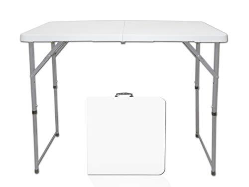 Mehrzweck-Rechteck-Tischmöbel, Mittelfalttisch, HDPE-TOP aus weißem Kunststoff, 4 Fuß lang, 3...
