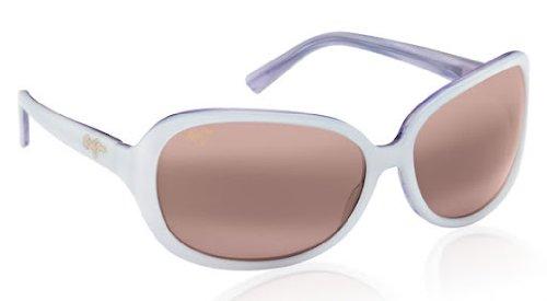 Preisvergleich Produktbild Maui Jim R225-05 Weiß Rainbow Falls Rectangle Sunglasses Polarised Lens Category 3