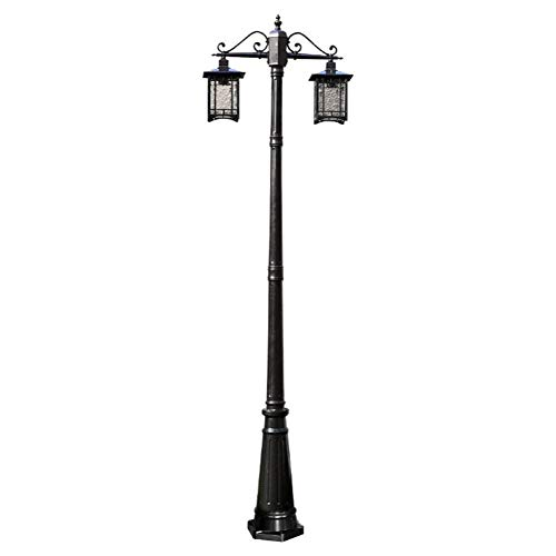 Straßenlampe Garden Antique Stehleuchte Double Arm Base Lampe Wasserdicht Candlestick Black Cast Aluminium und Glas Lampenschirm Außenleuchte - Glas Base Stehleuchte