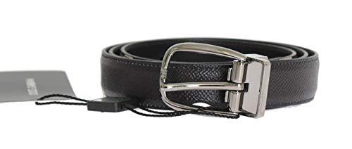 Dolce & Gabbana Herren Gürtel (Dolce & Gabbana - Herren Gürtel - Men Belt - Black Leather Silver Buckle Belt)
