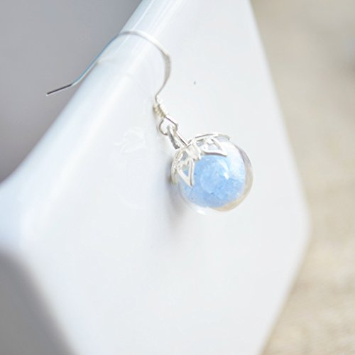 Ein Paar Blau Leuchtendes Stein Glühen im Dunkeln Glas Kugel 925 Sterling Silber Ohrhänger