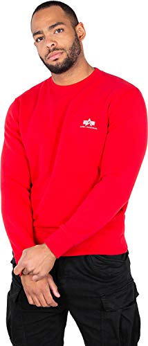 Alpha Industries Basic Small Logo Sweater Speed red Logo Military Sweatshirt