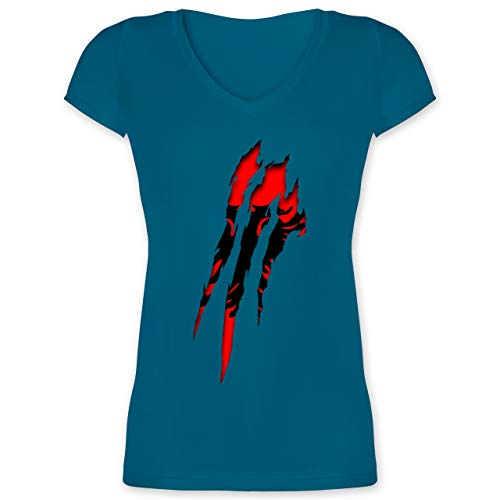Länder - Albanien Krallenspuren - M - Türkis - XO1525 - Damen T-Shirt mit V-Ausschnitt