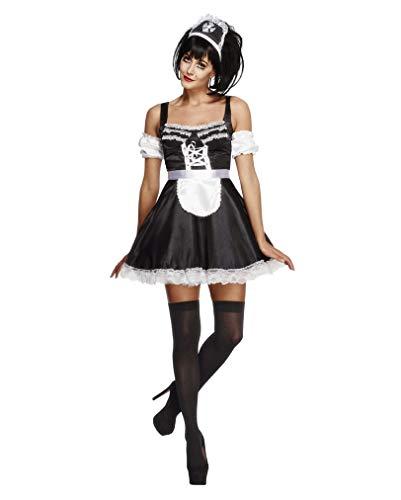 Sexy Zimmermädchen Kostüm Französisches Dienstmädchen Kleid 3-tlg schwarz weiß - M