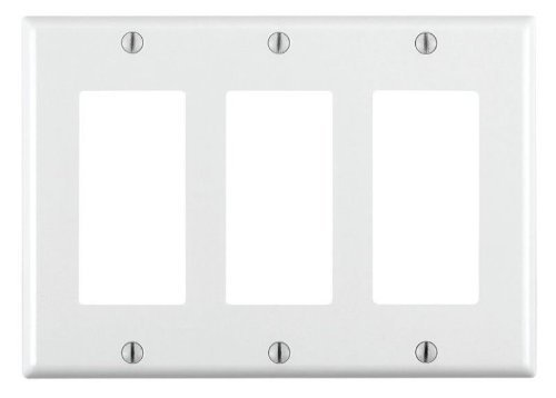 Leviton 80411-W 3-Gang Decora/GFCI Gerät Decora Wandplatte, Standardgröße, Thermoset, Gerätehalterung, weiß, 005-80411-W