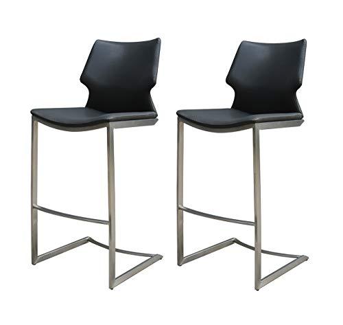 Meubletmoi Lot DE 2 - Chaises de Bar Simili Noir et piétement métal Mat - Premium Collection & Design Contemporain - Totem