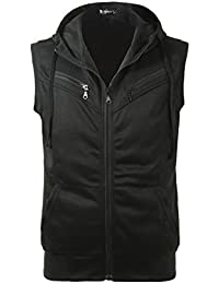 Sourcingmap Allegra K Men Kangaroo Pocket Zip Up Drawstring Hooded Vest